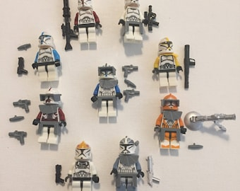 Building block 9 clone troopers with weapons and accessories