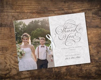 Siliver Wedding Thank You Card Template / Digital Download File - Design ID: 21-34A