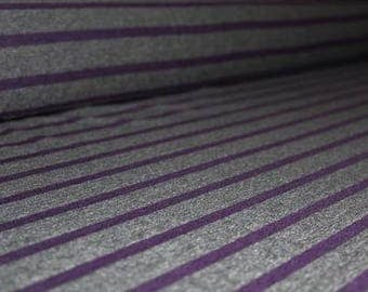 Bamboo Jersey Stripes, Plum/Charcoal, 200gsm, 4 Way Stretch, By the 1/2 Meter.