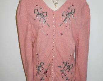 Vintage Blumarine Pink Cardigan Sweater ~ Made in Italy ~ Rose Pink Wool / Angora Sweater ~ Beaded Pink Sweater ~ Embroidered Pink Sweater ~