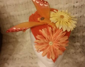 Fascinator,Handmade,Orange Wool, Butterfly and Flowers, Snap Clip Barrette, Felted Wool, Buttons, Wedding, Party,Races, Derby, Ascot