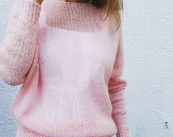 Mohair sweater woman mohair silk sweater knit pink sweater spring sweater women oversized sweater women knit pullover