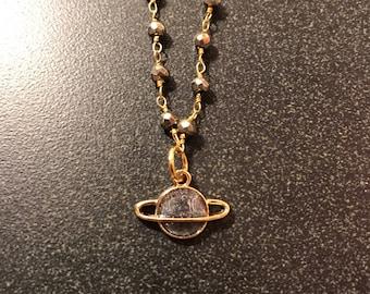 Gold Saturn Pendant Necklace