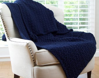 Chunky Crochet Tassel Blanket, Afghan, Throw