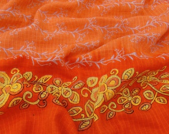 Antique Vintage Indian 100% Pure Cotton Saree Floral Printed Orange Used Sari Fabric 5 yard VCS9174