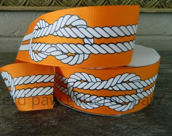 "1.5"" Nautical Knots on Tangerine Grosgrain Ribbon"
