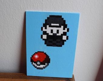 Pixel Pokemon ash and Pokeball art painting