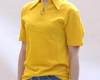 True vintage 1960s zip front Knit top in sunshine yellow