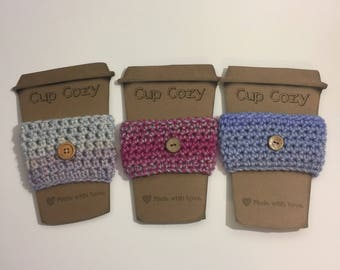 Set of 3 Handmade Crochet Cup Cozies with Buttons - Purple/Pink/Grey