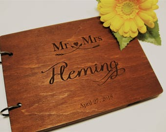 Wedding guest book, wedding guestbook personalized, rustic guest book, wood guest book, alternative custom guest book, wedding album, GB#11