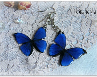 Light blue butterfly earrings summer butterfly earrings light and airy long summer original Mothers Day St Patricks Day gift