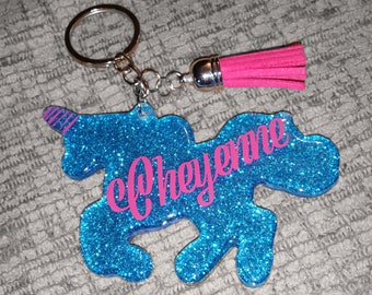 Unicorn Keychain - Made to Order - Name Keychain - Personalized gift - Unicorn gift - Glitter Keychain - Glitter Unicorn - Nurse Gift