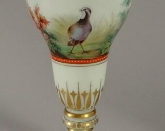 Enameled Art Glass Trophy Pheasant Cup Pocal Vase