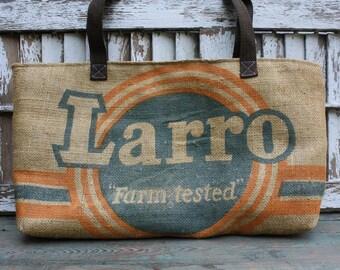 Vintage Burlap Feed Sack Shoulder Bag   Repurposed   Upcycled   Burlap Tote   Purse   Seed Sack   Feedsack   Grain Sack   Blue Ticking