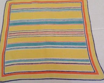 Vintage Handkerchief / Beach Stripes