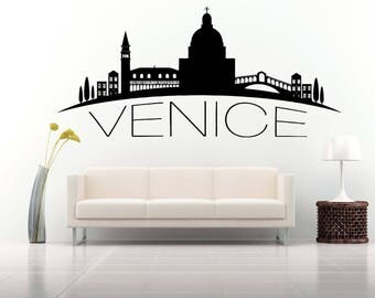 City Skyline Decal, Venice, Italy, Vinyl, Sticker, Mural, Wall Art, World Decal, Panorama, Home, Bedroom, Dorm Decor, Room NA773