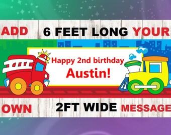 Fire Truck happy birthday banner, firetruck centerpiece, fire truck birthday party, fire truck decorations, fire truck name banner