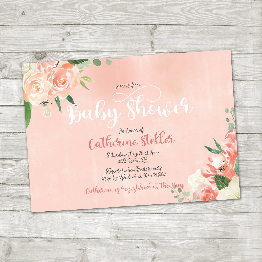 Floral Baby Shower Invitation, Baby Shower invite, Watercolor baby ...
