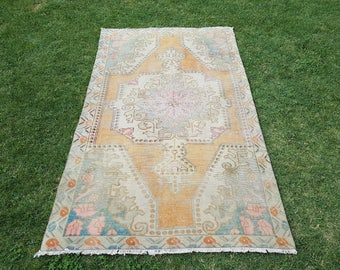 4'4'' x 7'6'' Vintage Oushak Rug, Vintage Turkish Distressed Rug, Low Pile Worn Oushak Rug, Muted Color Carpet, Rug, Rugs