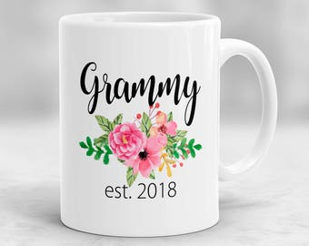 Grammy Mug, Gift for Grammy, Grammy Est. 2018 Mug, Baby Reveal Mug, Pregnancy Announcement Cup, Grammy Gifts, Grammy To Be Mug P154