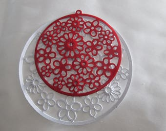 4 prints /connecteurs round red and white filigree 42 and 55 mm