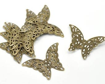 2 prints / 41 x 30 mm bronze filigree Butterfly charms
