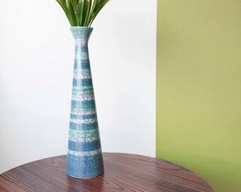 Tall Blue Vintage Vase