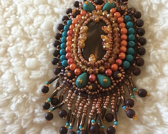 Brown Bead embroidery necklace.  Brown, turquoise, orange bead embroidery necklace.
