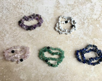 Crystal Slice + Lava Essential Oil Diffuser Bracelet