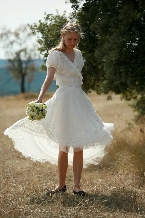 Linen Wrap Top And Skirt Wedding Dress High Low