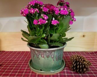 Spring green pottery planter