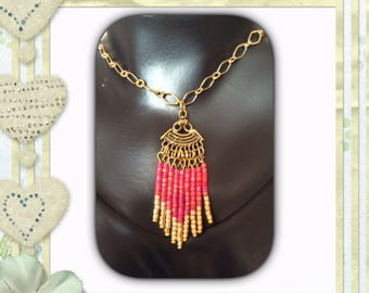Antique gold fan spacer necklace. Or set.