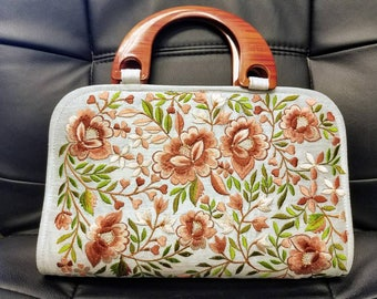 Embroidered handbag embroidered evening bag floral handbag floral evening bag India handbag gifts for her
