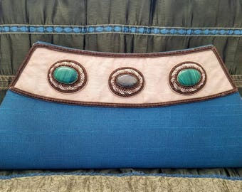 Embroidered clutch, teal clutch blue evening bag semi precious stones zardozi clutch zardozi evening bag India gifts for her