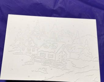 "Christmas village note cards embossed on ivory 4"" x 5.5"" blank card.  Set of 5"