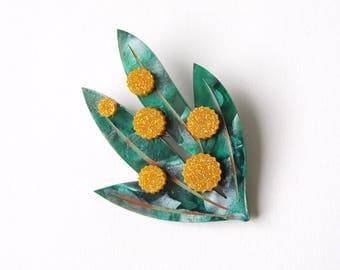 Golden Wattle Brooch in Swirly Green and Glittery Yellow Acrylic