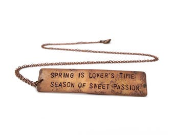 Spring is Lover's Time - Traditional Folk Song Lyric Necklace - SALE