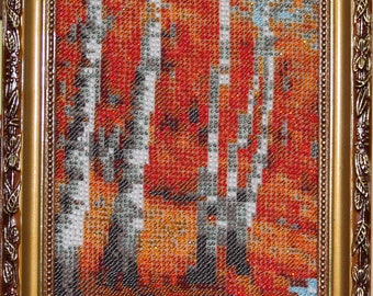 Picture of a handmade Autumn Gold. Birch Grove.