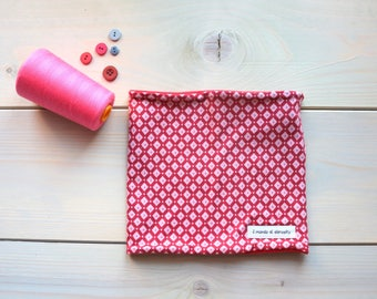 Neck warmer red cotton with Pink diamonds and reversible fleece