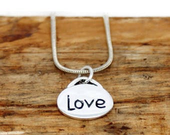 Sterling Silver Inspirational Love Pendant and Chain - Handmade Jewllery - Handmade Pendant - Pendant and Chain - Silver Pendant - MP22