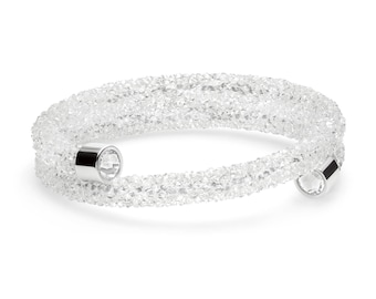 Crystal Dust Crystal Cuff Wrap Bypass Bracelet with Swarovski Elements in Stainless Steel