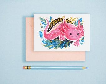 Axolotl Illustration A6 Postcard Single Print