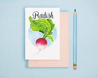 Radish Illustration Print - Vegetable Print, Rustic Kitchen Decor, Food Illustration, Food Wall Art, Vegetable Postcard, Foodie Gift