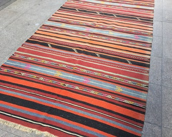 Large Rug,Handmade,Vintage Kilim Rug,Orange And Black Striped Rug,Large