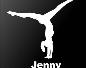 Gymnastics Personalized Girl Gymnast Vinyl Decal Car Window Sticker