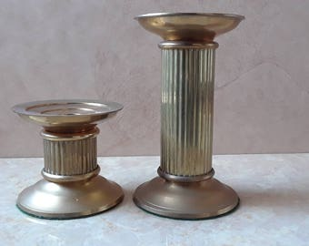 2 Vintage Brass Tower Candle Pillars, 2 Metal Candlestick Holders, Brass Taper Candle Holder Set, Home Decor