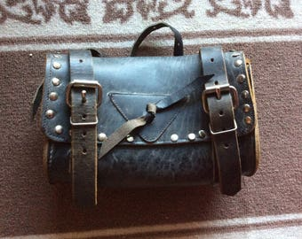 Vintage Black Leather Studded Motorcycle/Bicycle Tool Bag