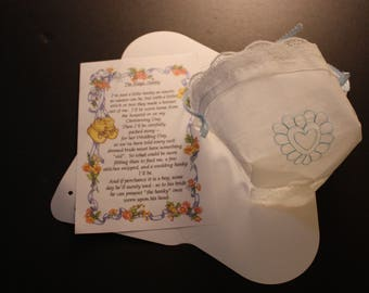 Baby hankie christening hat with poem for Boy