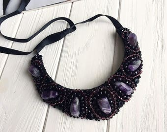 Black necklace, statement necklace, purple necklace, natural stone necklace, wedding necklace, bridesmaid necklace, statement jewelry