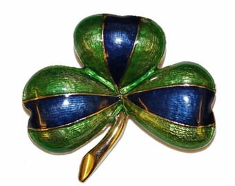 VINTAGE brooch - leaf clover green blue